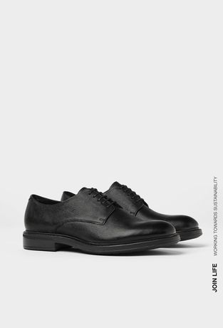Nowe skórzane czarne buty wizytowe typu Derby ZARA 42