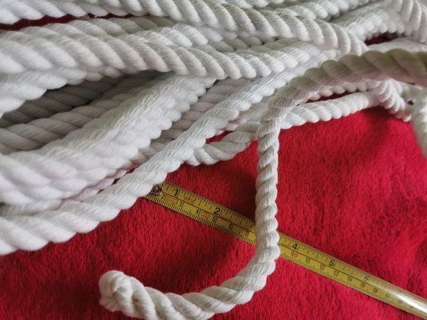 Lina bawełniana BIAŁA gruby sznur sznurek bawełna TANIO 10mm fi 10