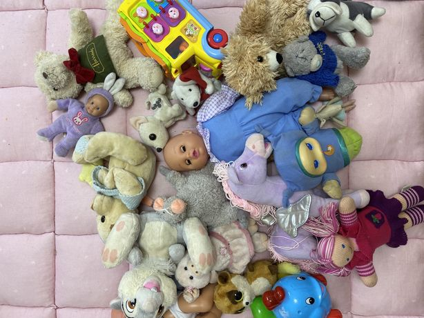 Мягкие игрушки лошадка мишка тедди мышка кукла автобус