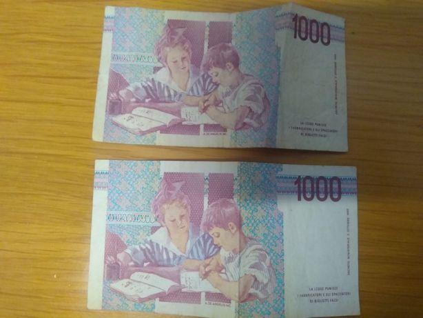 Vendo 2 notas - 1.000 LIRAS ITALIANAS