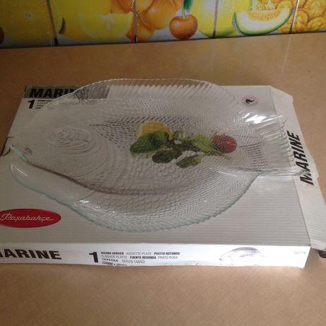 Большое подарочное блюдо тарелка из закаленного стекла