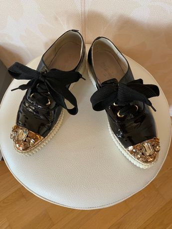 Кеди miu miu, натуральний лак, 38 розміру, кросівки, туфлі, снікерси