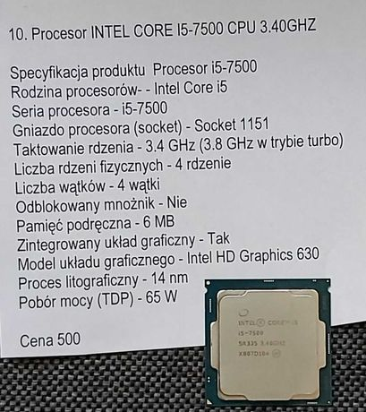 Procesor INTEL CORE i5-7500 CPU