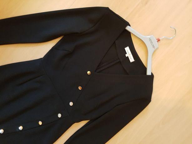 Sukienka 36 S czarna asymetryczna ołówkowa rozcięcie guess pinko kors