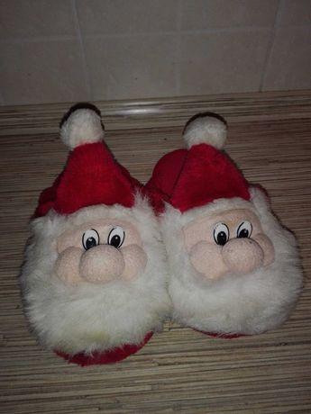 Новогодние тапочки Санта Дед Мороз, стелька 17-19см