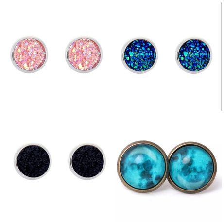 Серьги космос, с блестящими камнями, голубая галактика, новые, подарок
