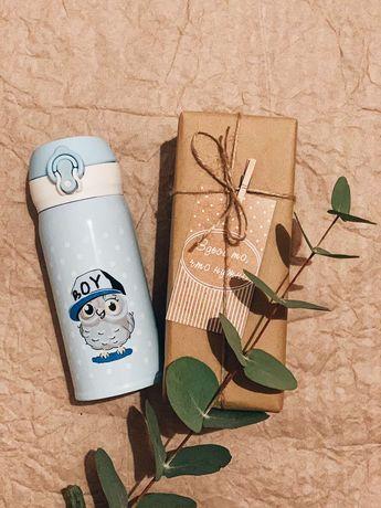 Детский термос бутылочка термочашка для детей сова единоро