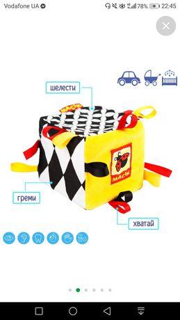 Развивающая, тактильная игрушка, мягкий кубик масик