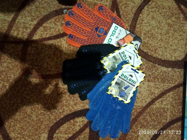 Перчатки рабочие тряпчаные (с резиновыми точками)
