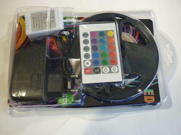 Светодиодная RGB LED лента с пультом 220 в, 5 метров, подсветка лед