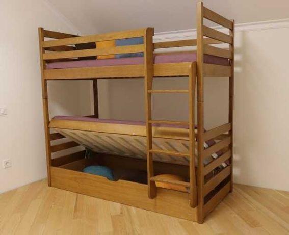 """Кровать двухъярусная,массив бука """"Шрек""""."""