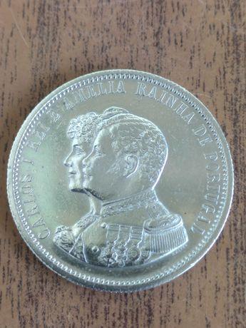 Moeda 1000 reis prata/Carlos l e Amélia rainha de Portugal