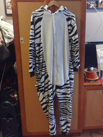 Piżama zebra jednoczęściowa