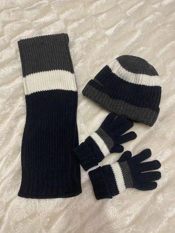 Набор шапка+шарф+перчатки next h&m zara 3-4
