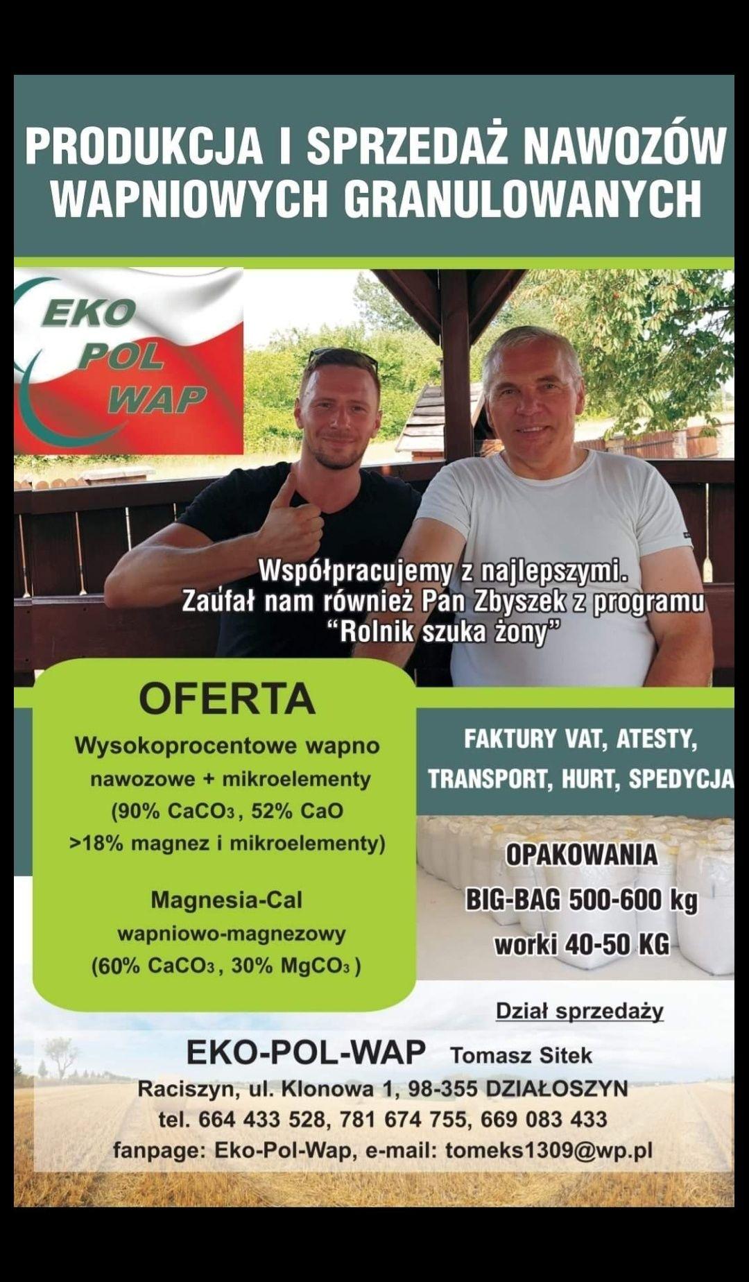 WAPNO granulowane PRODUCENT magnezowe kreda Faktura Dostawa gratis!Eko
