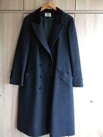 Płaszcz szary ciemny czarny wełniany kaszmirowy kaszmir wełna vintage