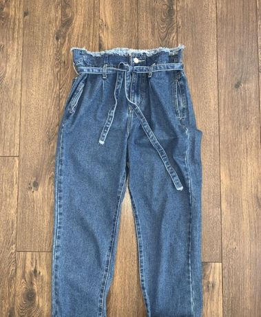 Стильные укороченные широкие джинсы с высокой посадкой мом карго redia