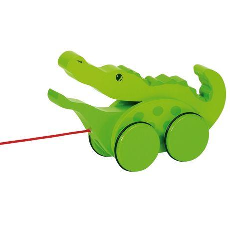 NOWA Goki Krokodyl Zabawka do ciągnięcia na sznurku drewniana jeździk