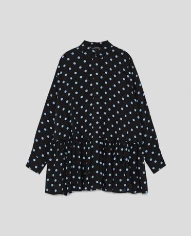 Czarna koszula w błękitne kropki Zara S 36