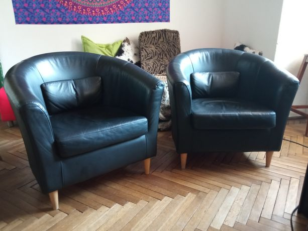 Fotel skórzany czarny Ikea Tullsta (został jeden)