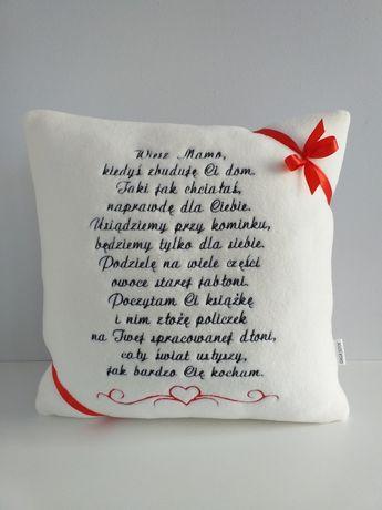 Poduszka z haftowanym wierszem dla mamy