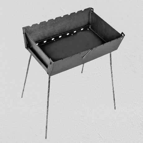 Мангал - на 8 шампуров 475х350х160мм Походный, чемодан, 2 мм