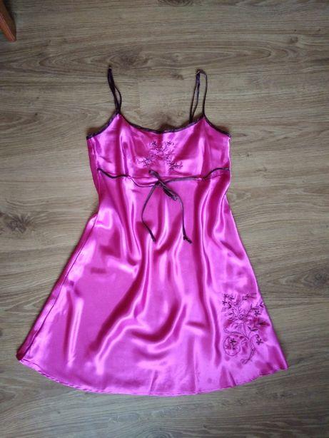 Różowa, satynowa koszula nocna XS/X (34/36)