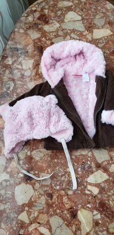 Красивая вельветовая курточка, внутри розочками, до 1,5 года