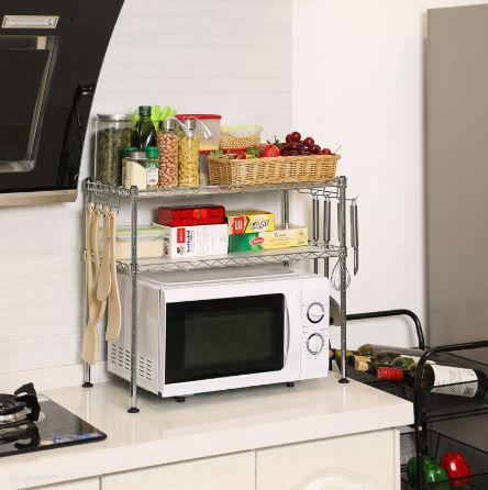OUTLET - stolik organizer 2 półki chrom z haczykami kuchenny