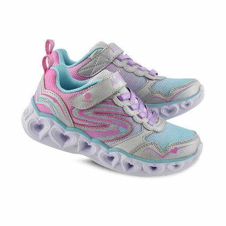Мигающие кроссовки девочки 30 светящиеся кросівки Skechers lights 19,5