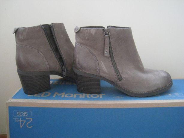 женские кожаные демисезонные ботинки на широком каблуке, р.40 - 26см