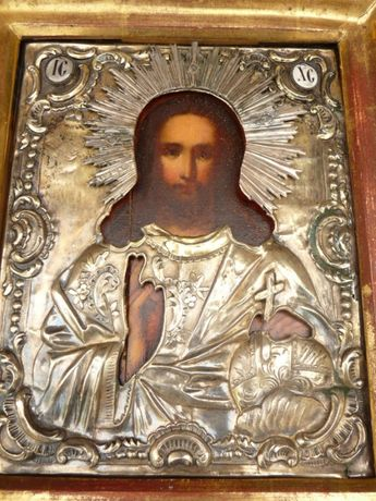 """Старинная икона """"Спас"""", 19 век, серебро 84 пробы"""