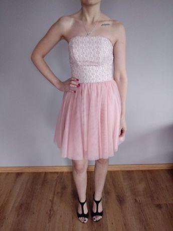 Sukienka różowa na gorsecie z tiulem