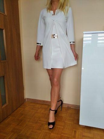 LUKSUSOWY komplet sukienka biała mini narzuta kamienie M L GRATIS WYS.