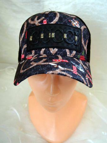 Gucci męska czapka z daszkiem kolorowa truckerka wzór
