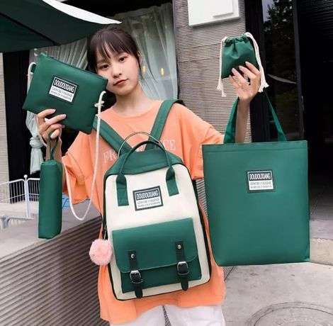 Рюкзак сумка пенал набор из 5 элементов зеленый