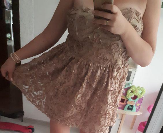 Mega sexy glamour sukienka złota beżowa mini koronka L XL 40 42