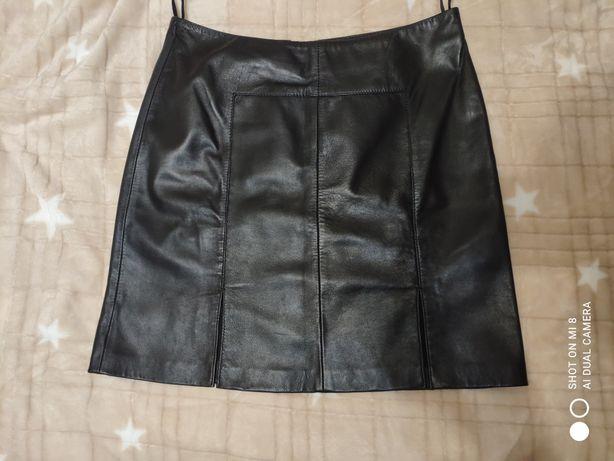 Кожаная мини-юбка натуральная, юбка с разрезами, юбочка кожа