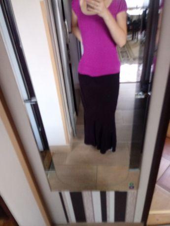 Długa śliwkowa sztruksowa spódnica r 40