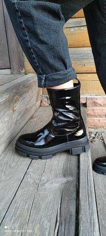 Ботинки кожаные зимние женские