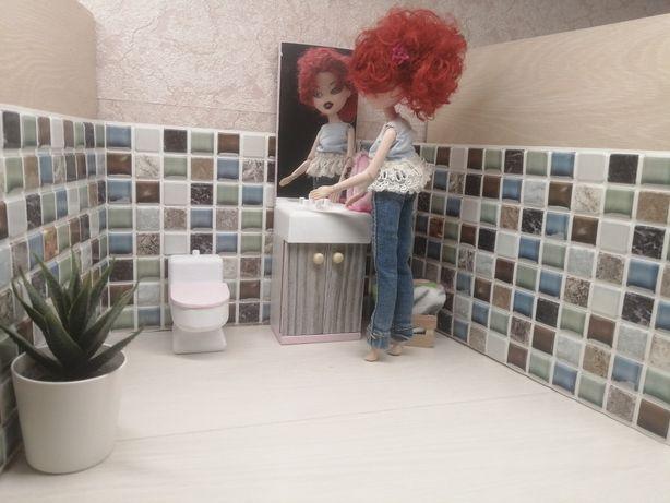 łazienka sedes toaleta lustro szafka ze zlewem dla lalek barbie