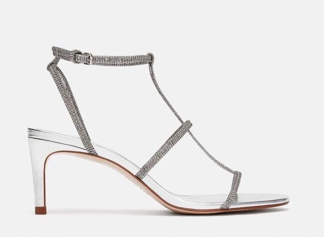 Nowe srebrne szpilki sandały Zara 39