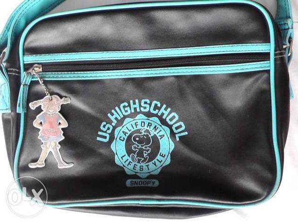 SNOOPY torebka sportowa na ramię czarno niebieska
