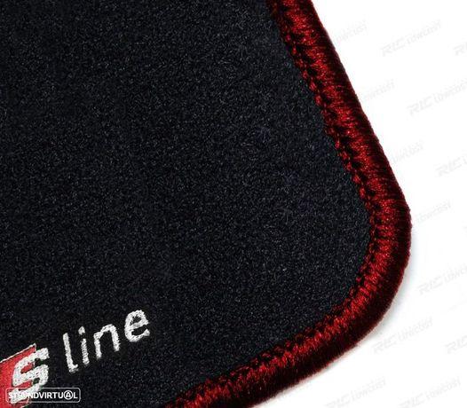TAPETES VELUDO COM SÍMBOLO S-LINE / AUDI A3 8V / +15 COM CONTORNO VERMELHO