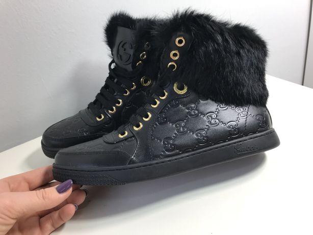 Gucci zimowe wysokie czarne trampki naturalne futro skóra 37