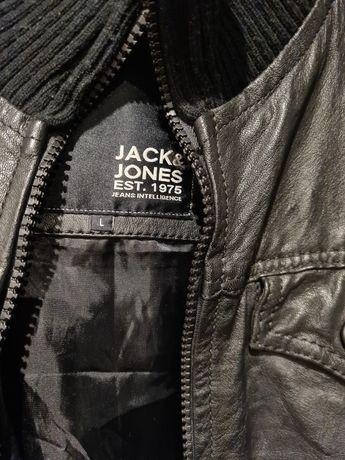 Kurtka skórzana Jack Jones męska czarna