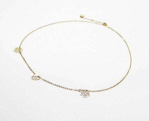 Naszyjnik celebrytka ażur elementy różowe złoto stal chirurgiczna C87