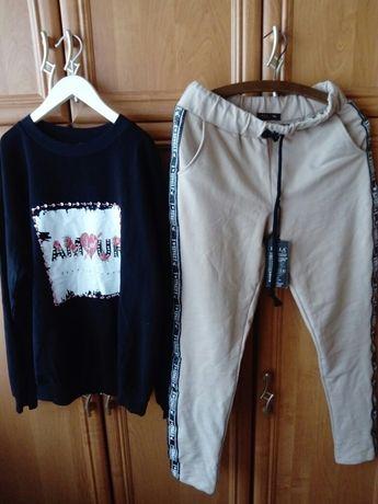 Śliczny komplet dresy jeansy spodnie skórkowe koronka ML.
