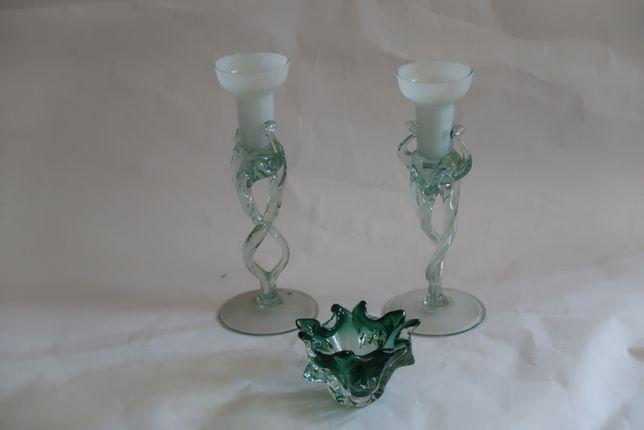 popielniczka, świeczniki szklane, w odcieniu zielonkawym