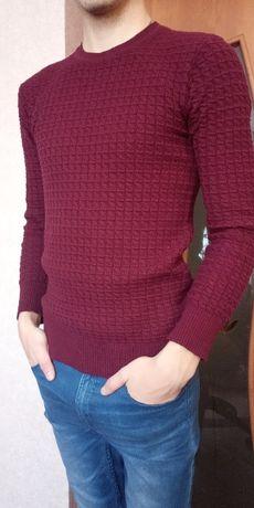 Мужская кофта Размер: S-М (48) бордовый свитер свитшот джемпер